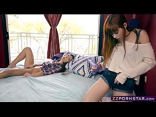 Lesbian strapon sex with two hot teen stepsisters