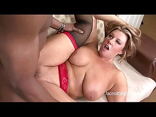 Chubby babe goes on the cougar hunt on a big black cock