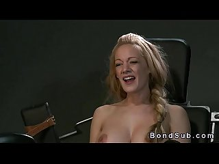 Strapped to the gyno chair blonde vibed in interracial femdom