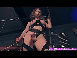 Dominating mistress pissing on pathetic sub