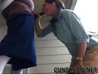 Middle aged slut sucks bbc infront of the neighborhood more at cuntcams net