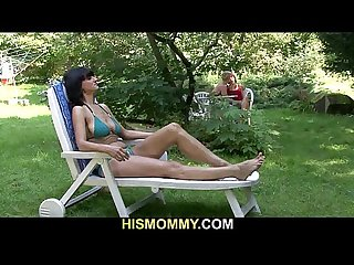 Busty mom seduces his cute girl