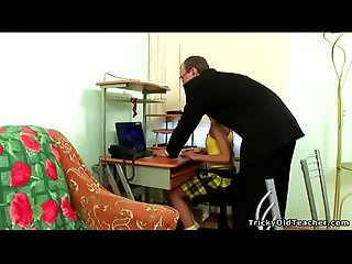 Tricky old teacher super hot teenage chick sucks on teacher s cock