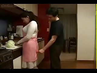 Japanese Step Mom and Son in Kitchen Fun