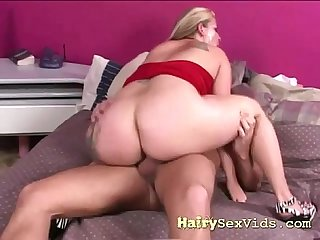 Hairy pussy spreading wide