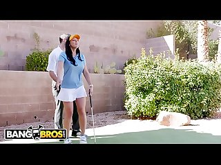 BANGBROS - Rachel Starr Fucks Her Golf Instructor While Her Cuck Husband Reads The Paper