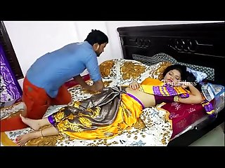 Step indian mom and step son having romance on bed