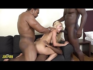 An explosive blonde with big tits comma four big black cocks and a nice dildo