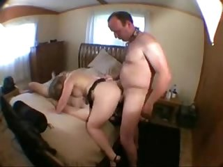 Cuckold eats cum with a slave his wife S lover