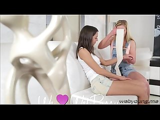 Hot teens angel and angie make passionate love at home