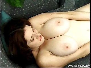 Incredible natural boobs brunette babe