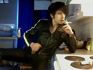Boy leather smoke 1