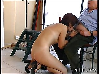 French redhead girl gangbanged and sodomized in a bdsm action