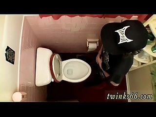 Gay sucks small uncut dick unloading in the Toilet bowl