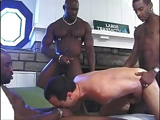 Luscious gang fuck as horny white stud takes monster black cocks
