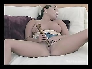 Sexy angelina plays with a vibrator