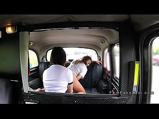 Lesbian female cop in female fake taxi