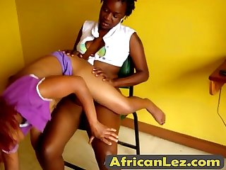 Nasty black whores enjoying hot lesbian action
