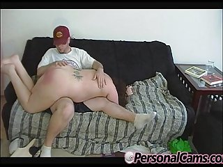 Chubby brunette with small tits takes a spanking