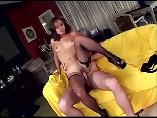 Jasmin fucking in fishnet lingerie and high heels
