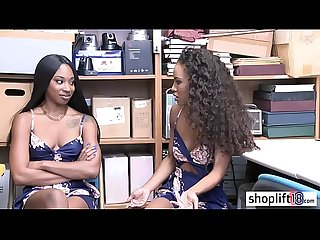 Two sexy ebony babes banged by a corrupt policeman