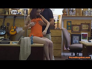 Busty teen Jenny sucks and fucks Pawnshop owners big cock