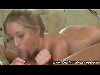Babe masseuse blowjob cum facial