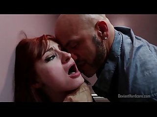 Rough sex with redhead in public bathroom