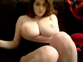 Hot woman teasing super fat boobs on cam
