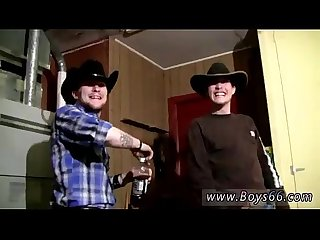 Male models cowboys ty lee pissing up the garage