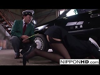 Sexy Japanese driver gives her boss a blowjob