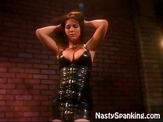 Kinky lesbian spanking