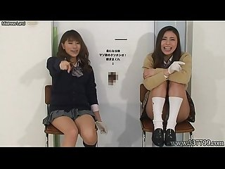 Japanese women to handjob with A laugh