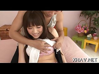 Horny oriental gets wet with sex toy