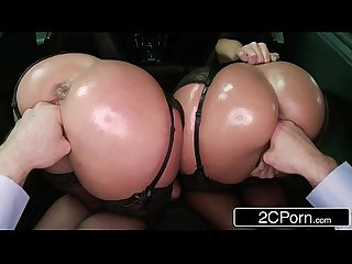 Big Butt Beauties Jada Stevens & Sheena Shaw Nice Sloppy Blowjob in the Trunk