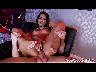 Euro beauty footlicked and fucked doggystyle