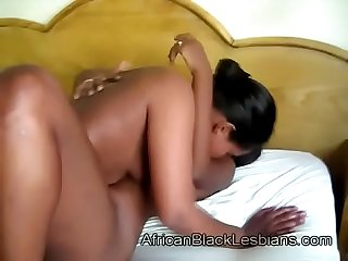Busty African honey gets teased by horny black beautybathroom-3