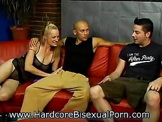Strapon sluts in bisex 3somes
