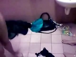 Amateur ffm threesome in the toilet