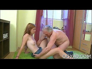 Priceless young babe rides old one eyed monster