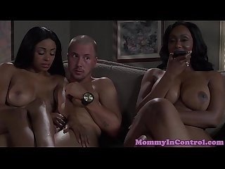 Black booty cougar cockriding in taboo trio