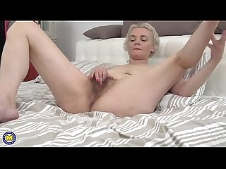 Hairy housewife fingering herself