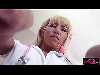 Sexy tranny nurse riding patients big dick after fellatio