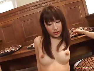 4 Asian girls with strapons sucking nipples licking and fingering pussies fuckin