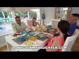 DON'T FUCK MY DAUGHTER - Lucie Kline Takes Anal On Thanksgiving From Her Dad's Friend
