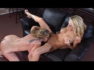 Two blonds having sex on the couch