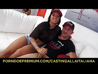CASTING ALLA ITALINA - First time anal with Italian brunette newbie fucked by Omar Galanti