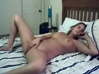 Hot blonde films her phone sex session