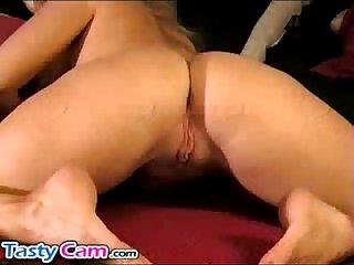 Sexy blonde cam babe masturbates