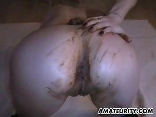 Amateur girlfriend toying and fucking with a christmas chocolate